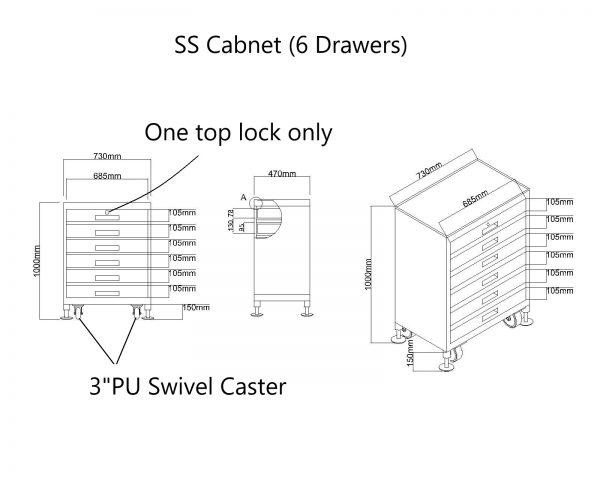 Tool Cart מגירות נירוסטה SS